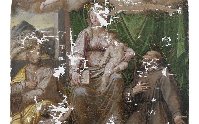 Giovanni Paolo Cardone, Madonna - Durante il restauro
